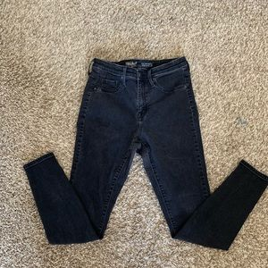 Black High Rise Denim Jeggings
